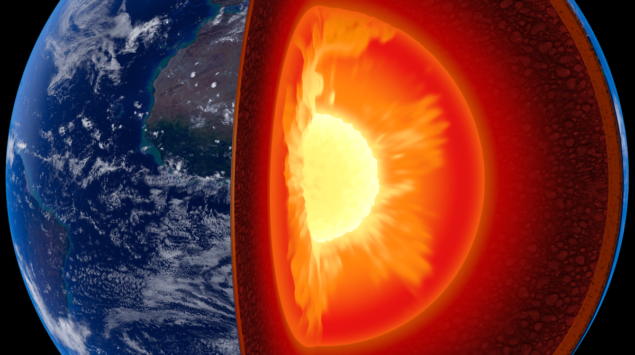 Cutaway of Earth with a slice out showing layers and glowing inner core.