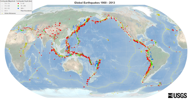A map of the world marking locations of major earthquakes, shown as colored dots. Most are along the Ring of Fire.
