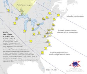 Eastern US and Canada with scattered small crescents representing views of solar eclipse.