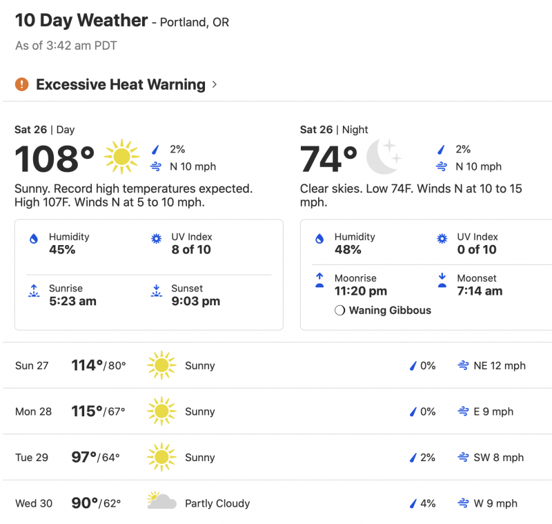 A chart showing how heat grips Pacific Northwest, as centered on Portland, OR: high of 108 degrees F on June 26, 114 on June 27, 115 on June 28, then dropping.