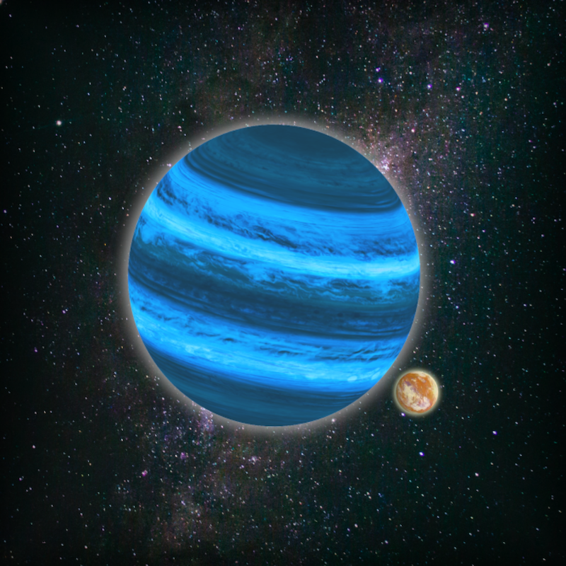 Moons of rogue exoplanets: large bluish planet with dark bands and smaller brownish moon against starfield.