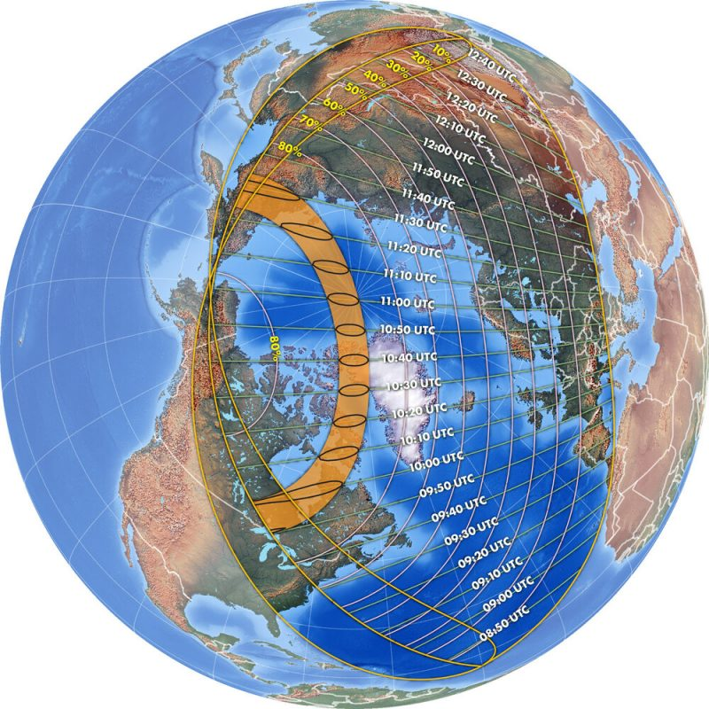 Earth globe viewed from north with time zones and path of solar eclipse marked.