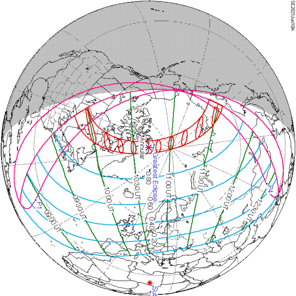 Schematic globe map with red lines showing path of annular solar eclipse.