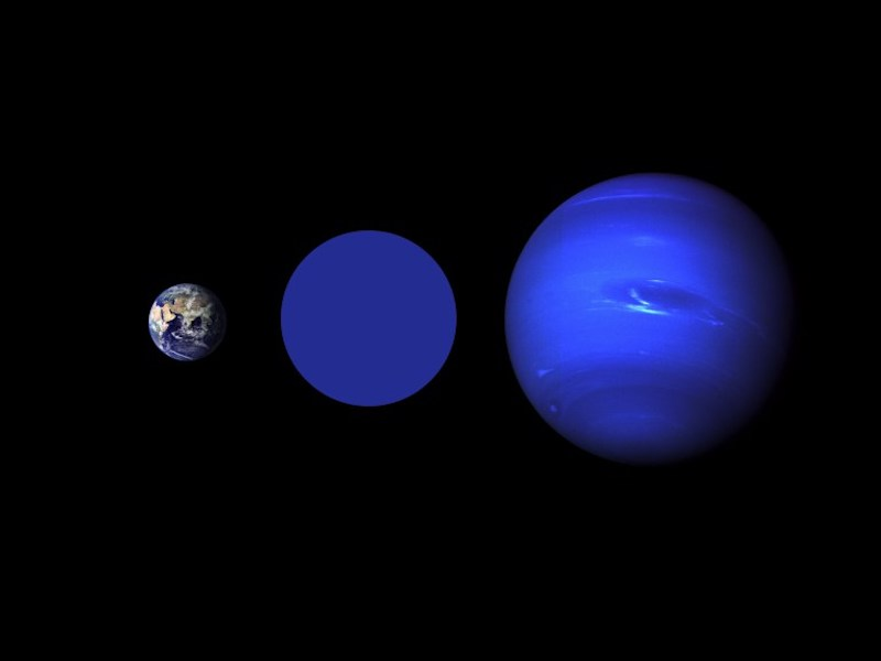 Earth and Neptune with another in-between size planet between them, on black background.