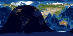 Rolled-out map of Earth with night and day sides visible.