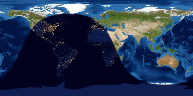 Day and night sides of Earth at the instant of the June 2021 solstice.