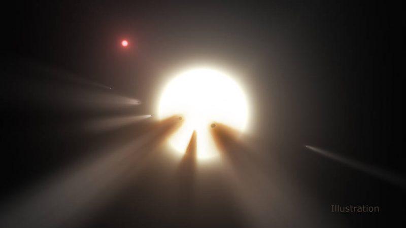 Una gran estrella blanca con chorros de material largos y oscuros frente a ella y otra estrella en la distancia.