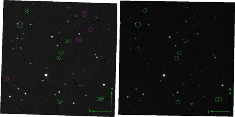 9 weird transients. 2 images of star fields with small green circles around star-like points in left image, nothing in the circles in right image.