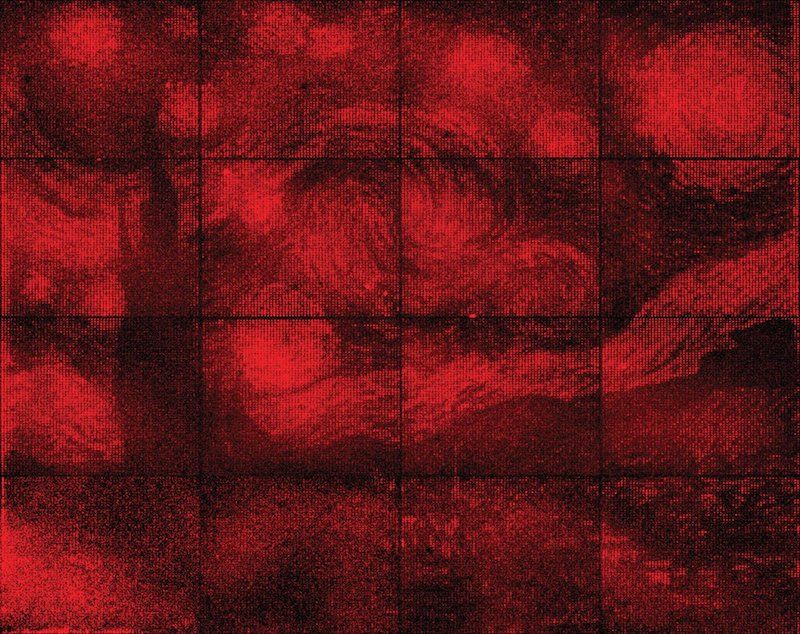 Vincent van Gogh's painting Starry Night, swirls of red on a grid of 16 squares.