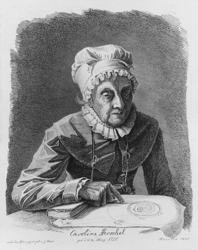 The Caroline Herschel Medal is named for this woman, wearing 1700s clothing, pointing at a paper with circles drawn on it.