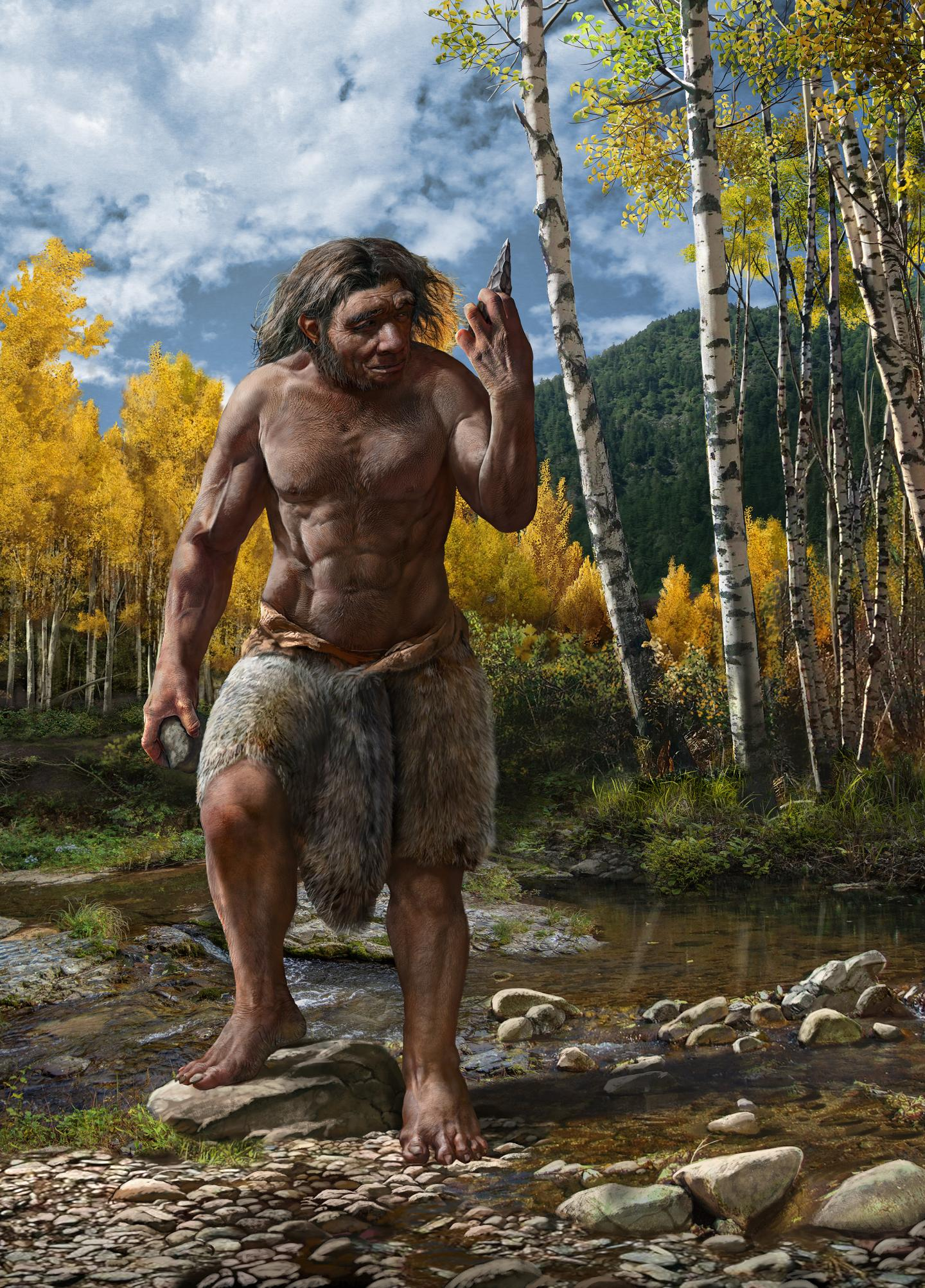 Sturdy barefooted 'dragon man' with fur loincloth, holding a stone tool, near birch trees.