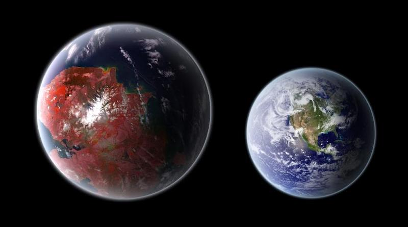 Earth and larger planet with Earth-like biosphere (clouds and ocean visible).