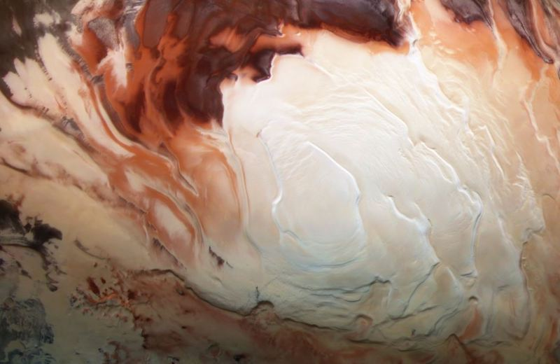 Mars' south polar ice cap seen from above.