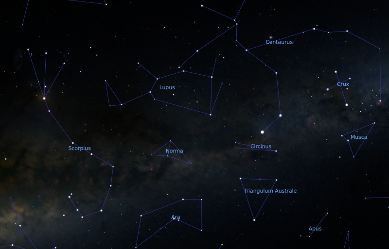 Star chart with many constellations and band of Milky Way.