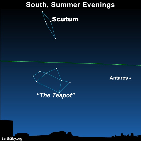 Star chart with narrow diamond shaped constellation above green line of ecliptic with Teapot below and Antares to the side.