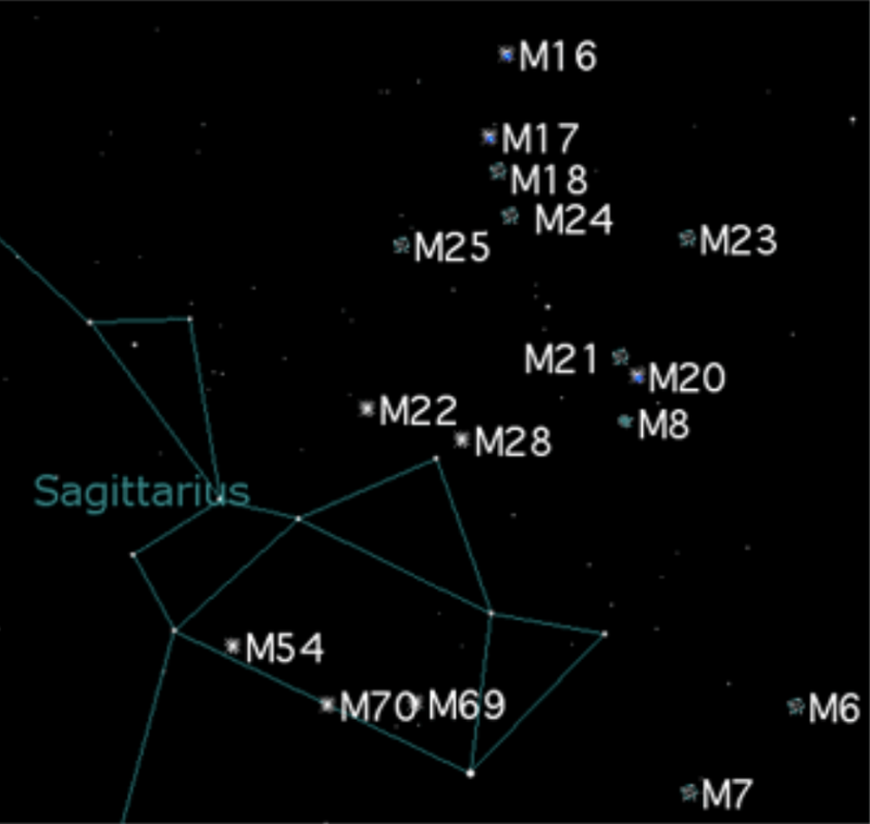 Star chart showing Teapot, with 16 dots labeled as M-objects, mostly above the Teapot's lid.