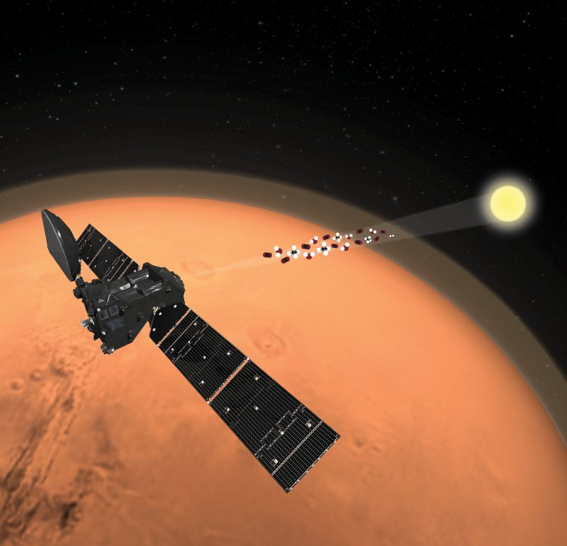 Spacecraft orbiting orange Mars with ray filled with little dots coming from distant sun.