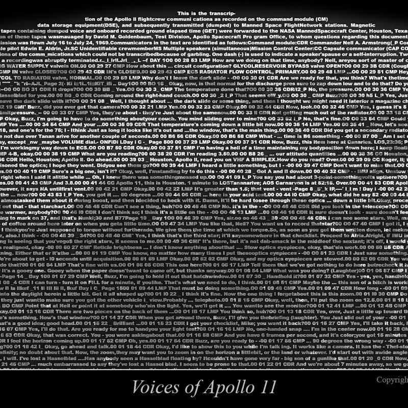 Part of the moon's surface, constructed of hundreds of lines of text.