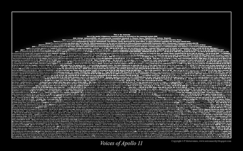 Apollo 11 transmission words in different shades of gray, forming in image of the moon.