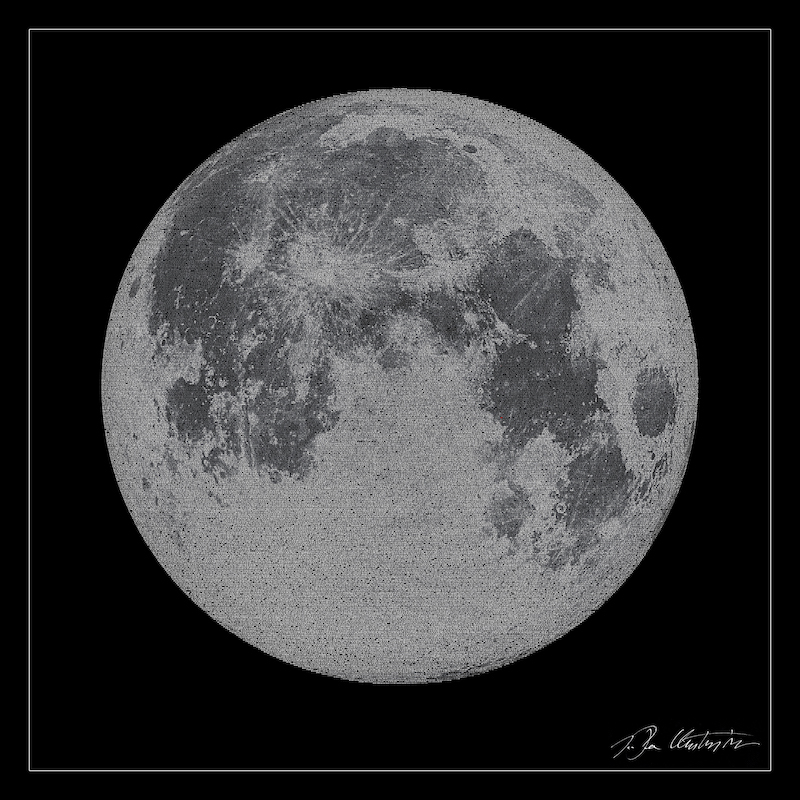 Voices of Apollo 11: an image of the moon, built up of letters from the Apollo 11 transmissions.