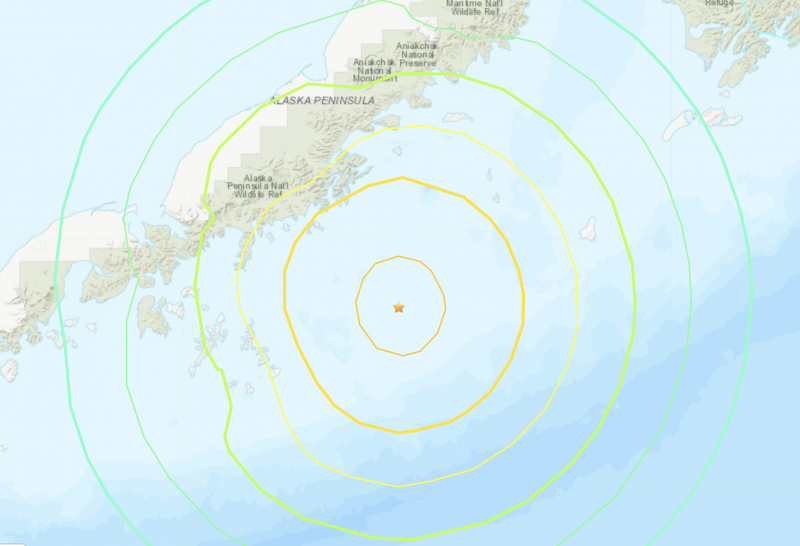 Map showing the July 28-29, 2021 8.2-magnitude earthquake was located off the Alaskan Peninsula.