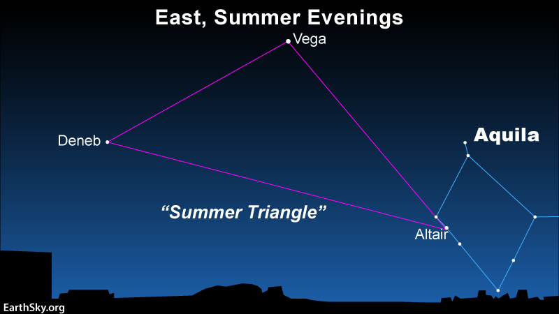 Star chart showing 3 Summer Triangle stars, with Altair and its constellation Aquila marked.