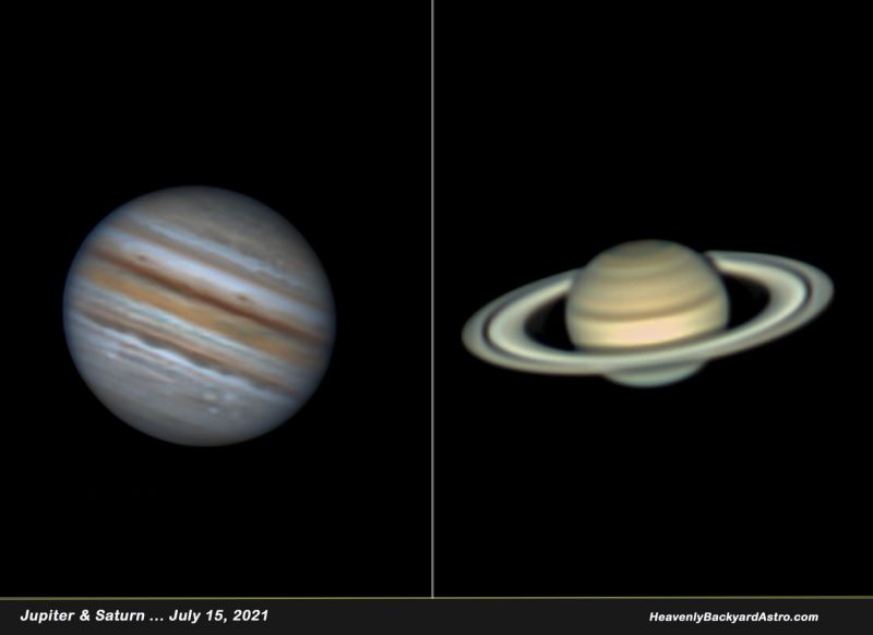 Telescopic image of banded Jupiter on the left, and telescopic image of ringed Saturn on the right.