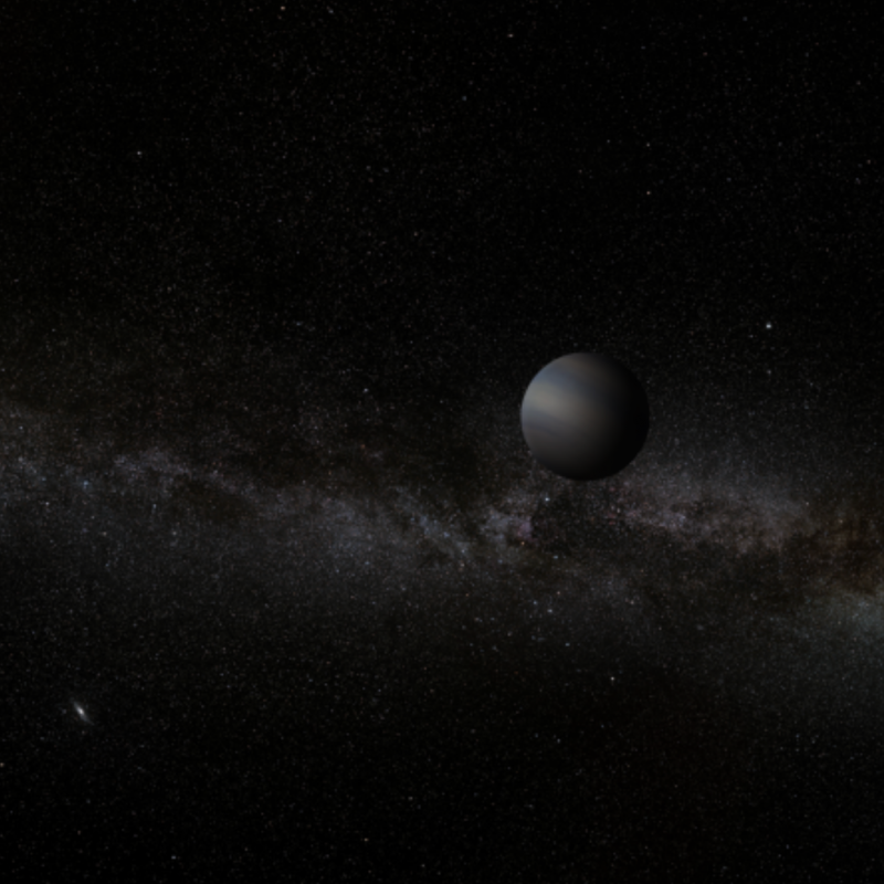 Dim rogue planets float in the darkness, far from any star, seen here with the Milky Way in the background.