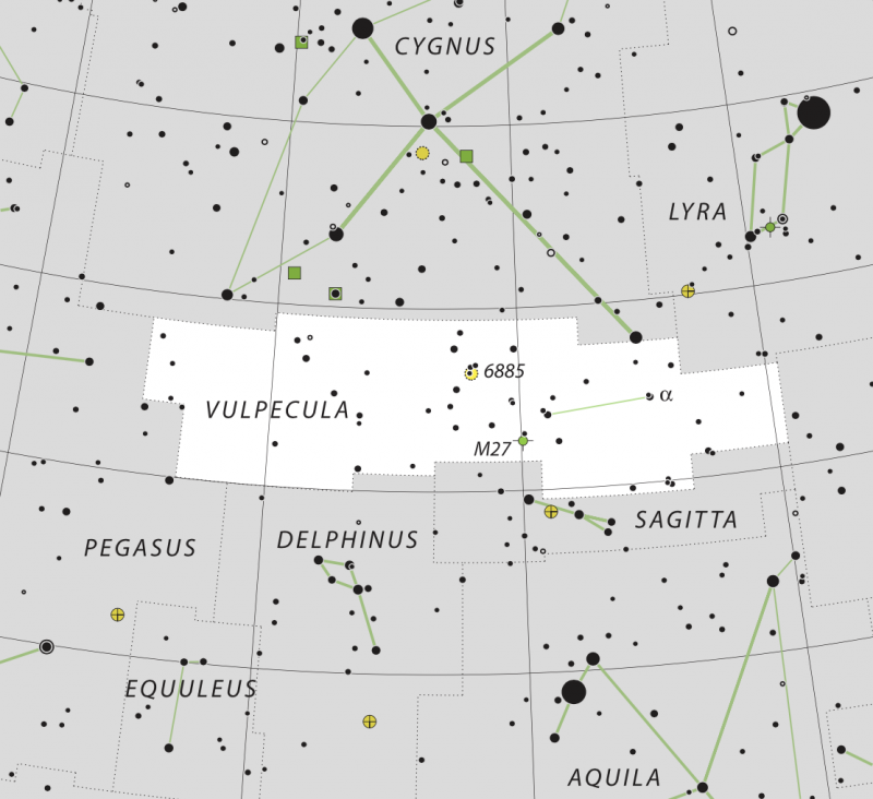 Star chart with stars in black on white showing Summer Triangle and 3 small constellations.