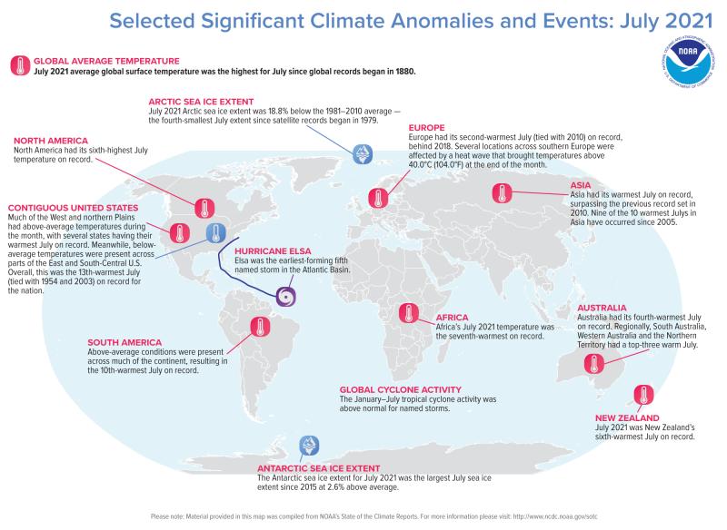 Mapa mundial ovalado con 12 puntos ampliamente distribuidos y anotados que representan eventos climáticos.