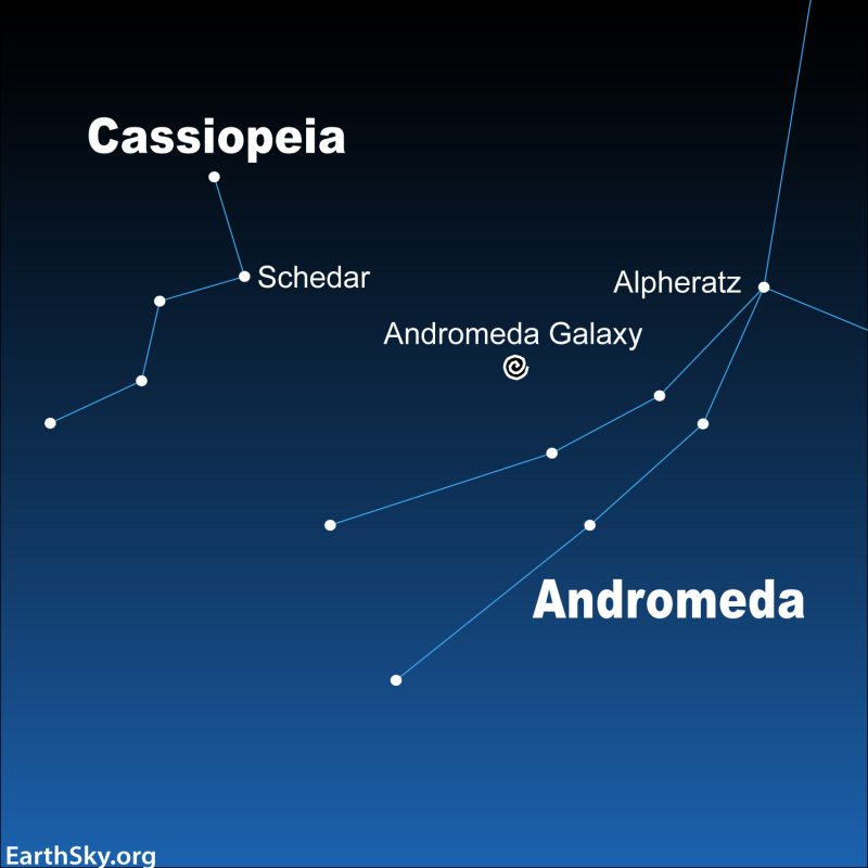 Star chart of constellations Cassiopeia and Andromeda with labeled Andromeda galaxy between them.
