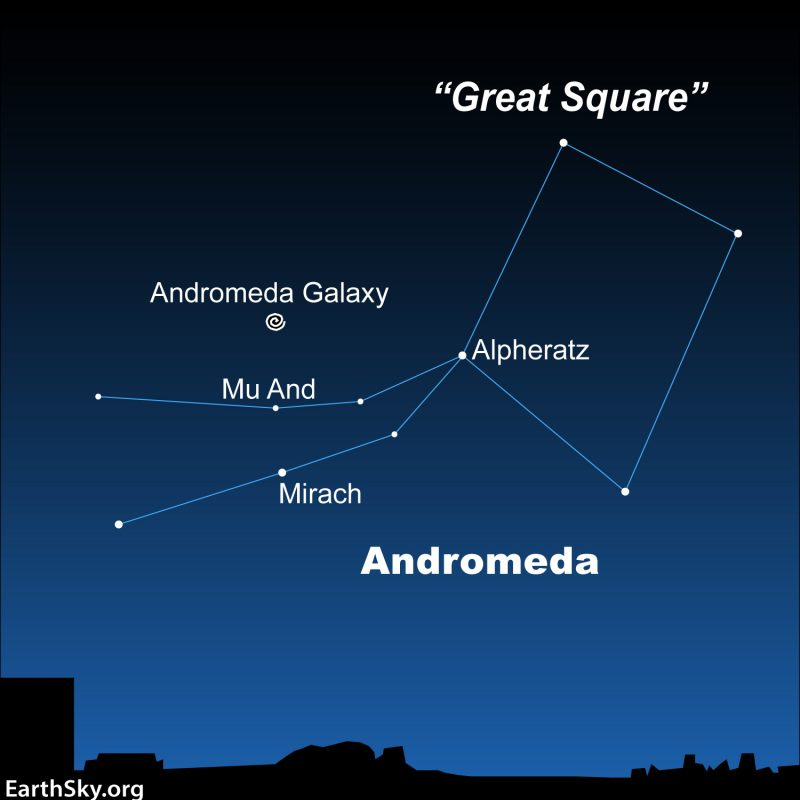Star chart with Great Square and Andromeda constellation outlined and Andromeda galaxy marked.
