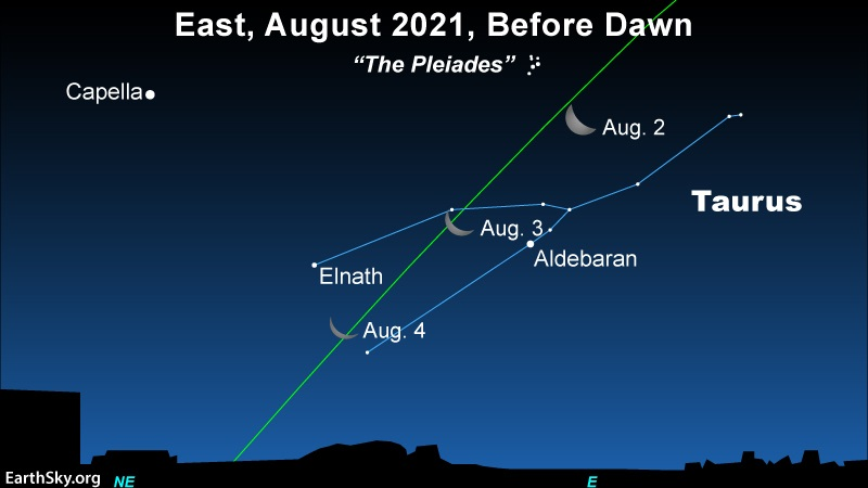 Star chart: Sequential positions of crescent moon along line of ecliptic running through constellation Taurus.