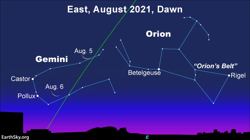 Star chart: Crescent moon and Gemini stars with constellations Orion and Gemini marked.