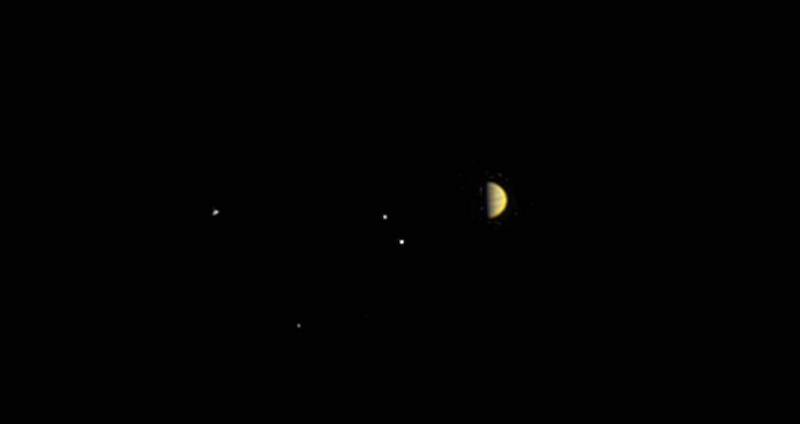 Planet with four bright dots near it, on black background.
