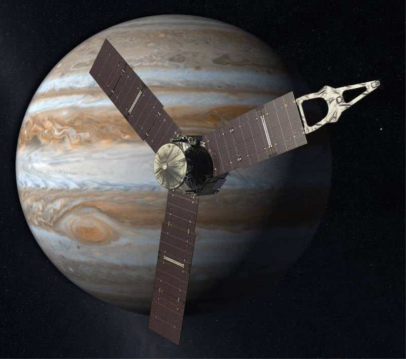 NASA's Juno mission: Spacecraft with three large solar panels and Jupiter in background.