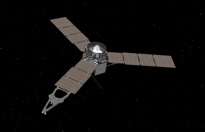 Juno spacecraft simulation on black background.