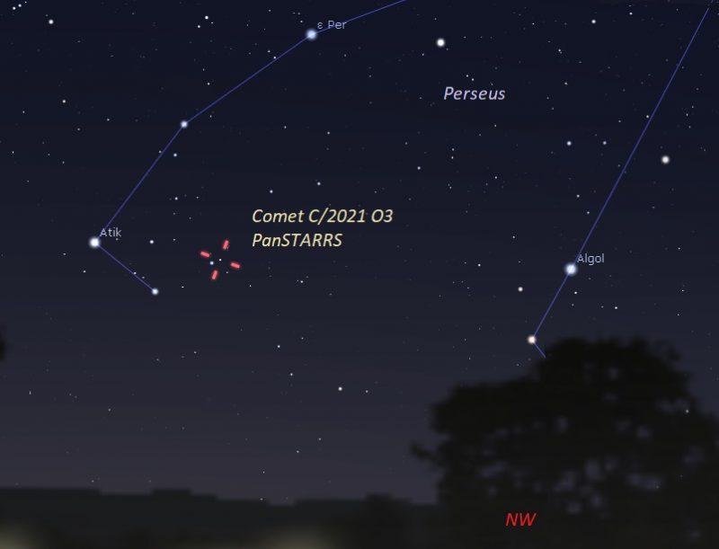 Chart of comet in Perseus between stars Atik and Algol.
