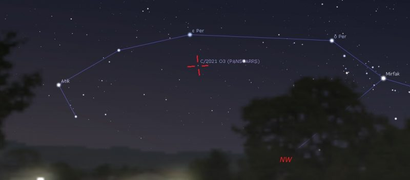 Chart showing comet sliding to middle of Perseus between stars Atik and Mirfak.