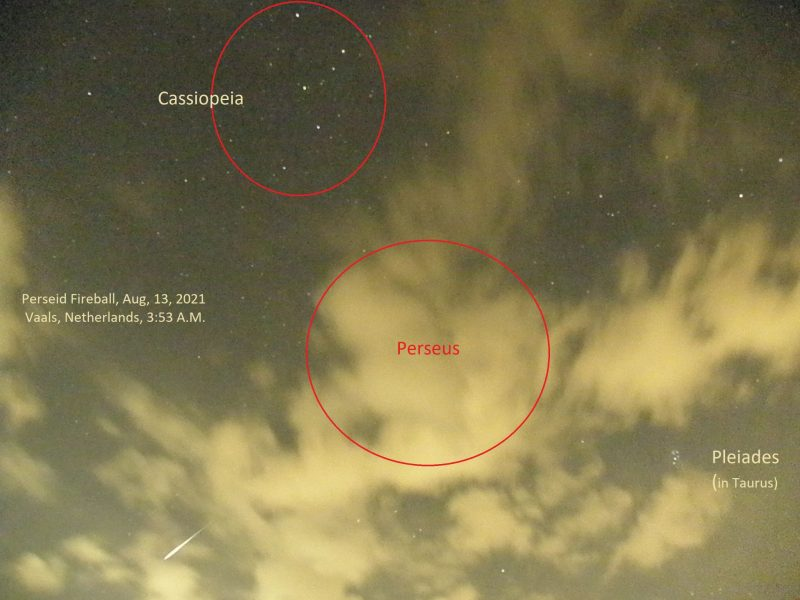 Clouds with bright streak lower left, and red circles drawn around constellations Cassiopeia and Perseus.
