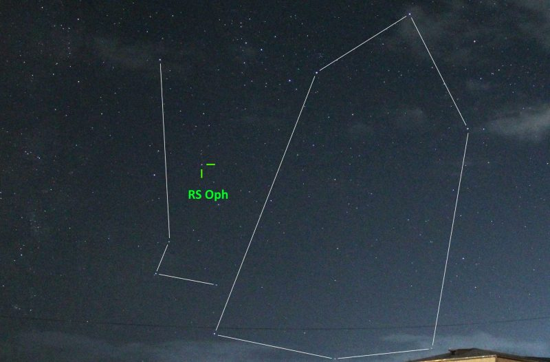 Nova visible to the eye: Outline of Ophiuchus with nova RS Ophiuchi labeled.