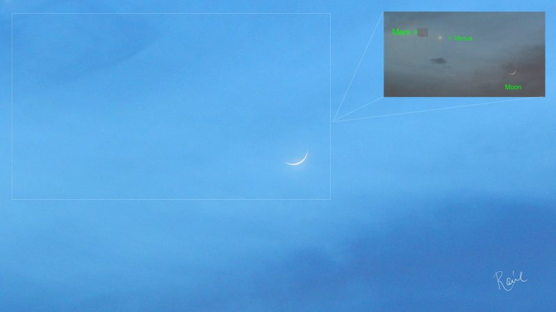 A thin crescent in a blue sky. An insert shows Venus and Mars.