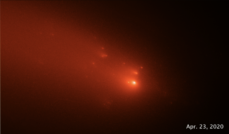 Numerous bright orange blobs rushing through space with gaseous tails.