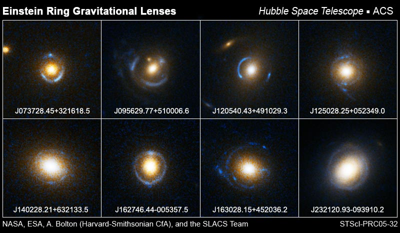 A collection of light rings seen around small, bright galaxies against dark backgrounds.