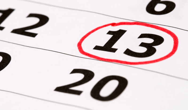 Friday 13th: A piece of a calendar with the number 13 circled in red.