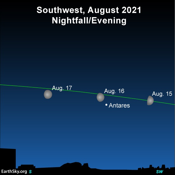 Star chart with 3 positions of moon near star Antares.