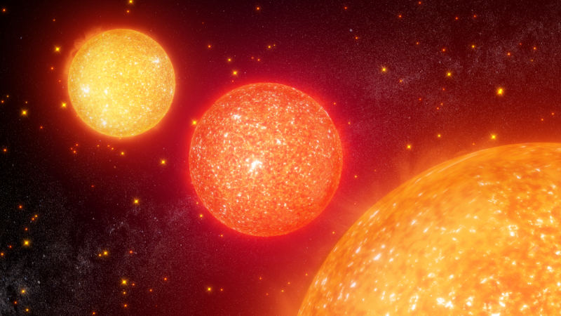 3 glowing red spheres, the apparently smallest in the upper left and largest in the lower right.