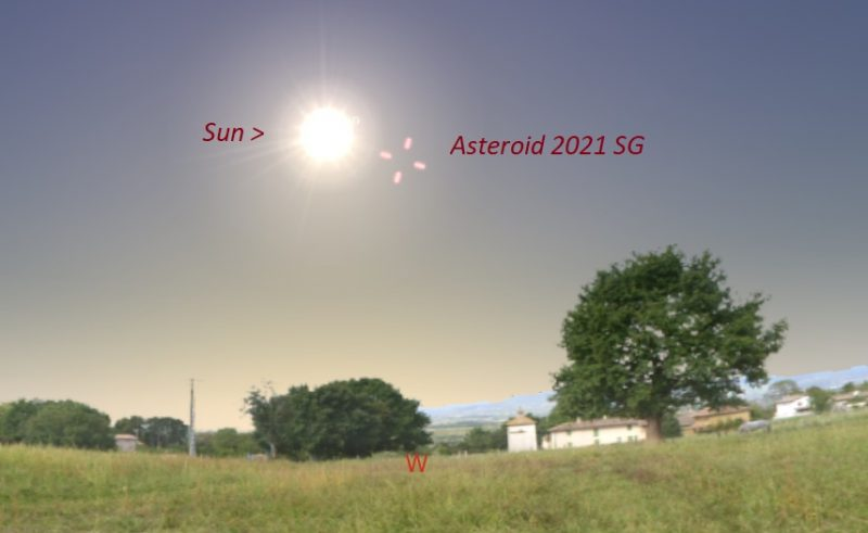Landscape with brilliant sun in the sky and tick marks near it showing location of asteroid.