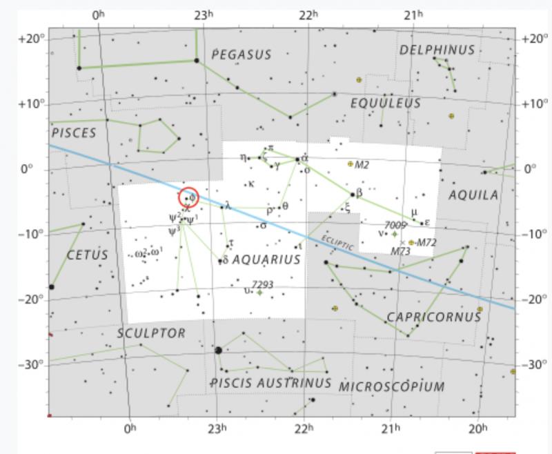 Star chart of Aquarius, black stars on white background.