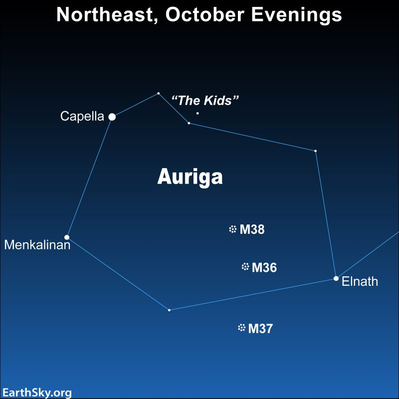 Star chart showing the constellation Auriga with its main brightest star, Capella.